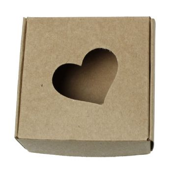 Kraft Card Favour Box with Heart Cut-Out